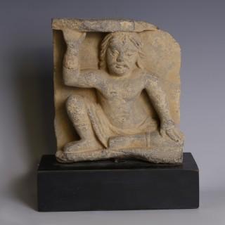 Gandharan Relief of Seated Atlas