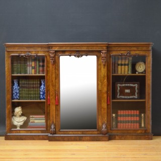 Superb Victorian Walnut Breakfronted Bookcase