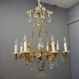 Glass and Gilded Brass Chandelier