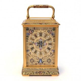 French striking Champlevé Enamel Carriage clock
