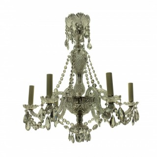 A SMALL FRENCH CUT GLASS CHANDELIER