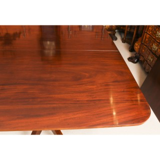 Antique 7ft Flame Mahogany Twin Pillar Regency Dining Table C1820 19th C