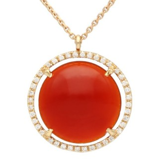 4.62 ct Carnelian and 0.25 ct Diamond, 18ct Rose Gold Pendant - Vintage Italian Circa 1990