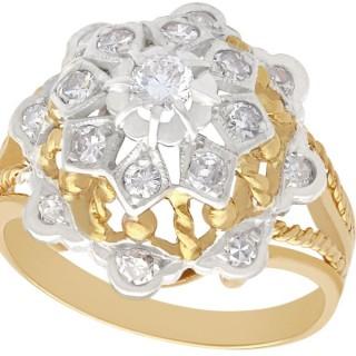 0.70 ct Diamond and 18 ct Yellow Gold, 18 ct White Gold Set Dress Ring - Vintage Circa 1940