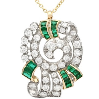 3.06 ct Diamond and Synthetic Emerald, 12 ct Yellow Gold Pendant - Vintage Circa 1950