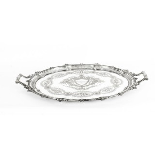 Antique Victorian Oval Silver Plated Tray by Mappin & Webb C 1880 19th Century