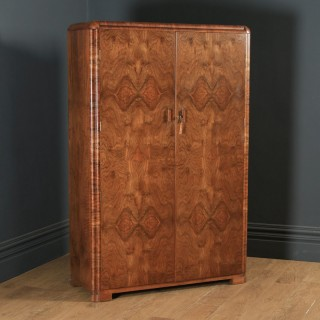 Antique Scottish Art Deco Burr Walnut Two Door Armoire Wardrobe (Circa 1930)