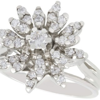 0.95 ct Diamond and 14 ct White Gold Cluster Ring - Vintage Circa 1960