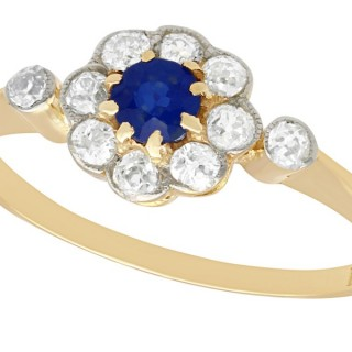 0.17 ct Sapphire and 0.28 ct Diamond, 18 ct Yellow Gold Dress Ring - Antique Circa 1920