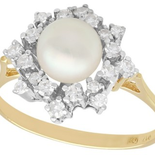 Cultured Pearl and 0.60 ct Diamond, 18 ct Yellow Gold Dress Ring - Vintage Circa 1970