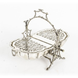 Antique Victorian Silver Plated Shell Biscuit Box Fenton Brothers 19thC