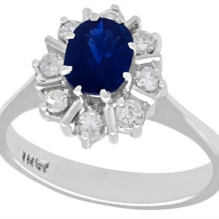 1.42 ct Sapphire and 0.22 ct Diamond, 18 ct White Gold Dress Ring - Vintage Circa 1970