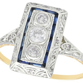 0.37 ct Diamond and 0.16 ct Sapphire, 14 ct Yellow Gold Dress Ring - Art Deco - Antique Circa 1920