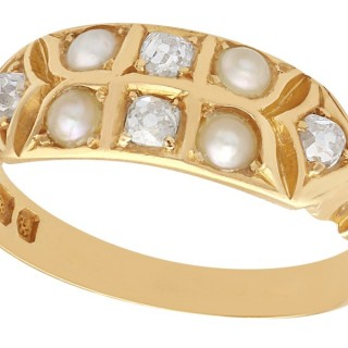 Seed Pearl and 0.23 ct Diamond, 18 ct Yellow Gold Dress Ring - Antique Victorian