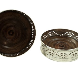 Pair of Antique William IV Sterling Silver Wine Coasters 1835