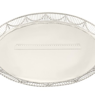 Sterling Silver Galleried Tray - Antique George V (1913)