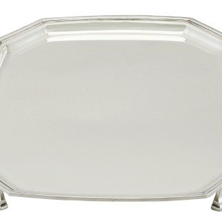 Sterling Silver Salver - Art Deco Style - Vintage George VI (1944)