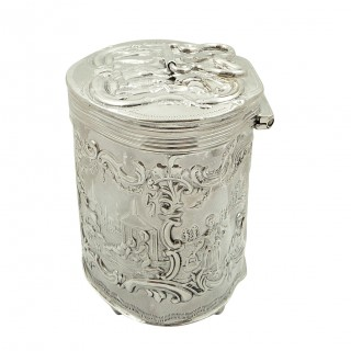 Antique Edwardian Sterling Silver Caddy with Scenes 1903