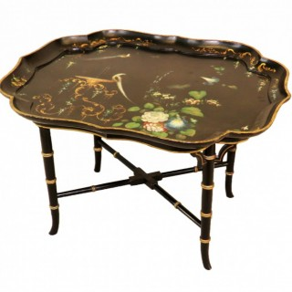 19th Century English Papier Mache Tray Top Coffee Table