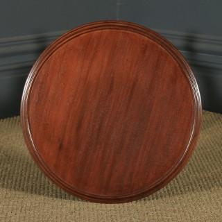 Antique English Victorian Mahogany Circular Occasional Tripod Wine Table (Circa 1880)