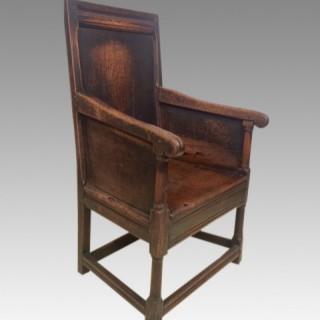 Small 17th century Welsh oak armchair.