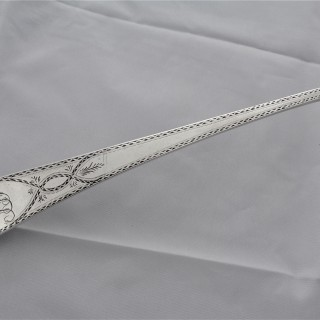 Nice bright cut engraved George III silver soup/punch ladle London 1779 George Smith