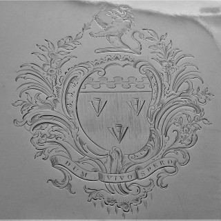 Nice quality armorial early George III silver salver London 1764 Hannam & Mills