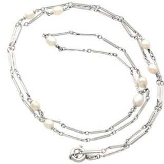 Cultured Pearl and Platinum Necklace - Antique Circa 1920