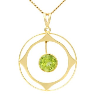 1.83ct Peridot and 15ct Yellow Gold Pendant - Antique Circa 1910