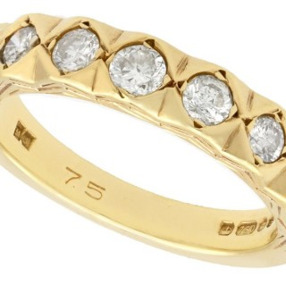 0.75ct Diamond and 18ct Yellow Gold Half Eternity Ring - Vintage 1979