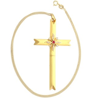 Seed Pearl and Imitation Gemstone, 18ct Yellow Gold Cross Pendant - Antique Victorian