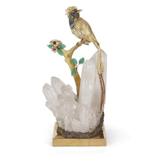 Gold, diamond, and gemstone model of a bird of paradise