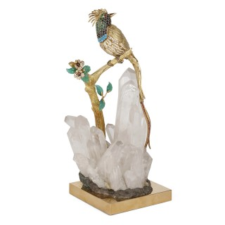 Gold, diamond, and gemstone model of a bird of paradise