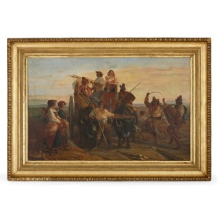 Italian 19th Century oil painting of a pilgrimage to a Marian shrine