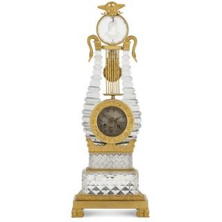 Restauration gilt bronze mounted crystal lyre mantel clock