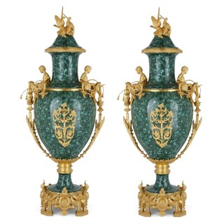 Pair of French Neoclassical malachite and gilt bronze vases