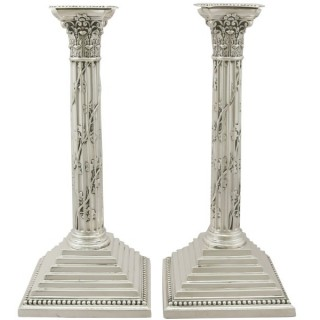 Sterling Silver Corinthian Column Candlesticks - Antique Victorian