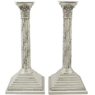 Sterling Silver Corinthian Column Candlesticks - Antique Victorian