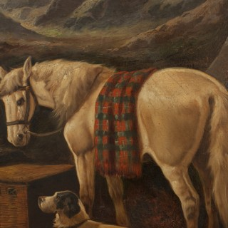 Pair Of Highland Shooting Oil Paintings With Gun Dogs & Ponies By Walter Andrews.