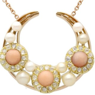 0.62ct Diamond and Coral, Pearl and 15ct Yellow Gold Necklace - Antique Victorian