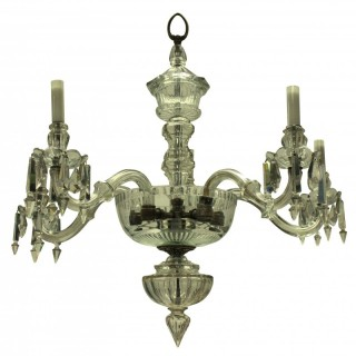 AN EDWARDIAN FINELY CUT GLASS CHANDELIER