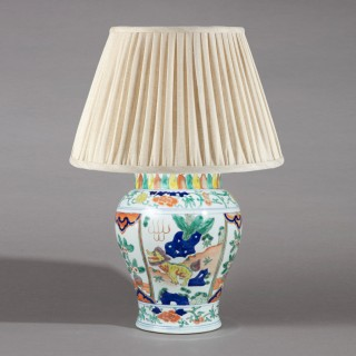 Chinese Famille Verte Porcelain Vase as a Table Lamp