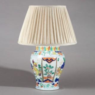 Chinese Famille Verte Porcelain Vase as a Table Lamp