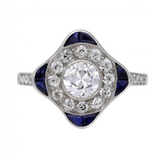 Diamond and sapphire cluster ring, circa 1920.