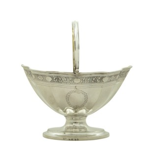 Antique Georgian Sterling Silver Sugar Basket / Bowl 1798