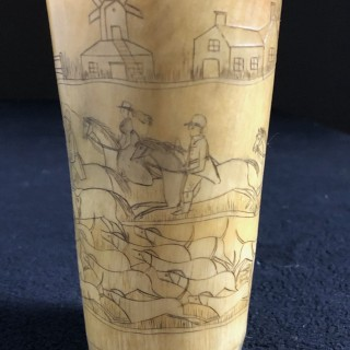 Horn beaker with Hunting scenes Circa 1840
