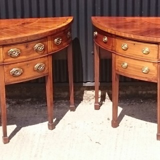 Pair of George III Period Mahogany Demi Lune Antique Sideboards