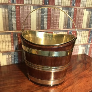 George III Brass Bound Mahogany Oval Oyster Bucket