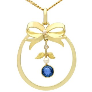 0.42ct Sapphire and Pearl, 15ct Yellow Gold Pendant - Antique Circa 1920