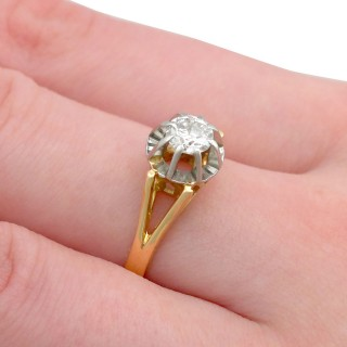 0.49 ct Diamond and 18 ct Yellow Gold Solitaire Ring - Vintage French Circa 1940